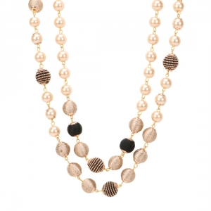 Beige Pearls Two Layer Oxidized Golden Necklace