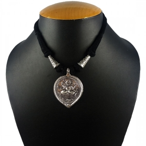 Designer Oxidized German Silver Necklace with Handcrafted pendent of Lord Ganesha