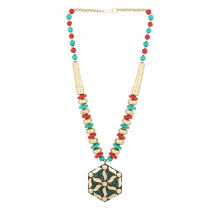 Designer Colourful Metal and Wooden Beads Necklace