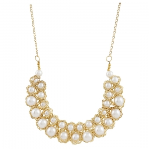 Elegant Pearl Golden Wire Charm Necklace