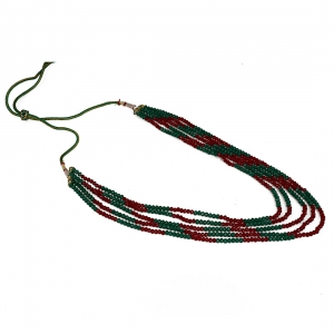 Five Layer Red and Green Crystal Beads Necklace