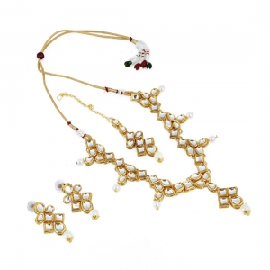Designer Style Gold Plated Traditional Kundan Necklace with Earrings