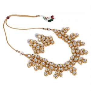 Shining Gold Plated Kundan Necklace Set With Earrings
