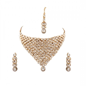 Traditional Gold Plated Kundan Necklace Set