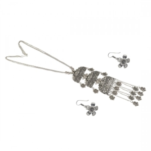 Designer German Silver Oxidized Necklace Set with Earrings