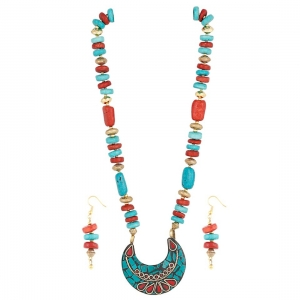 Designer Tibetan Stone Beads Necklace with Earrings