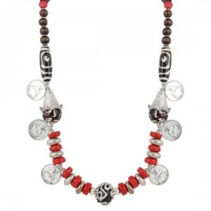 Designer Red Stone and Coin Tibetean Beads Necklace