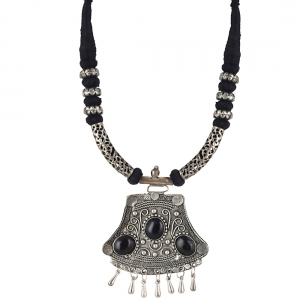 High Finished Black Beads and Oxidized Silver Pendant Designer Necklace