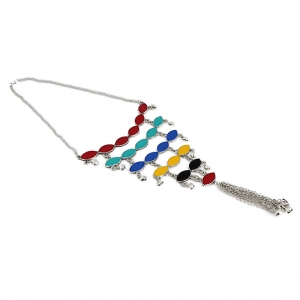 Oxodised Silver Meena Work Strand Necklace