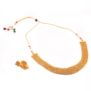 Designer Traditional Copper Gold Plated Traditional Necklace Set