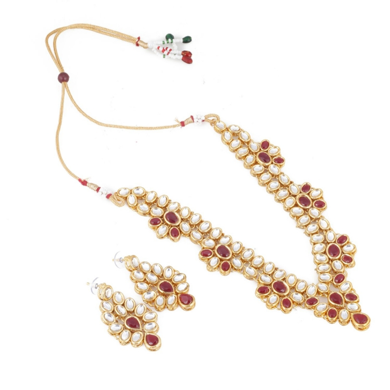 Elegant Inspired Traditional Kundan Necklace Set With Earrings