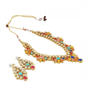 Multi Colour Gold Plated Kundan Necklace Set with Earrings
