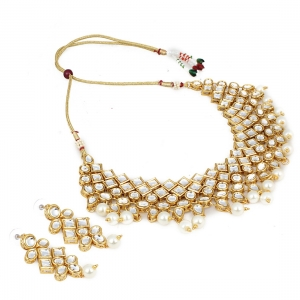 Gold Plated Party Wear Kundan Necklace Set with Earrings