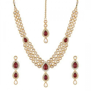 Traditional Layered Gold Plated Maroon Kundan Necklace with Earrings