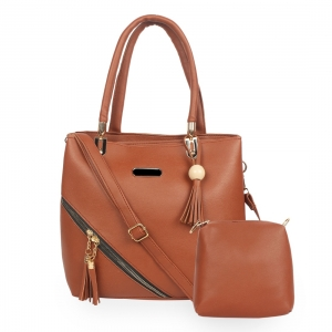 Generic Women's Faux Synthetic Leather Satchel Bag (Brown)