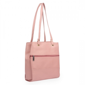 Generic Women's Faux Synthetic Leather Satchel Bag (Pink)