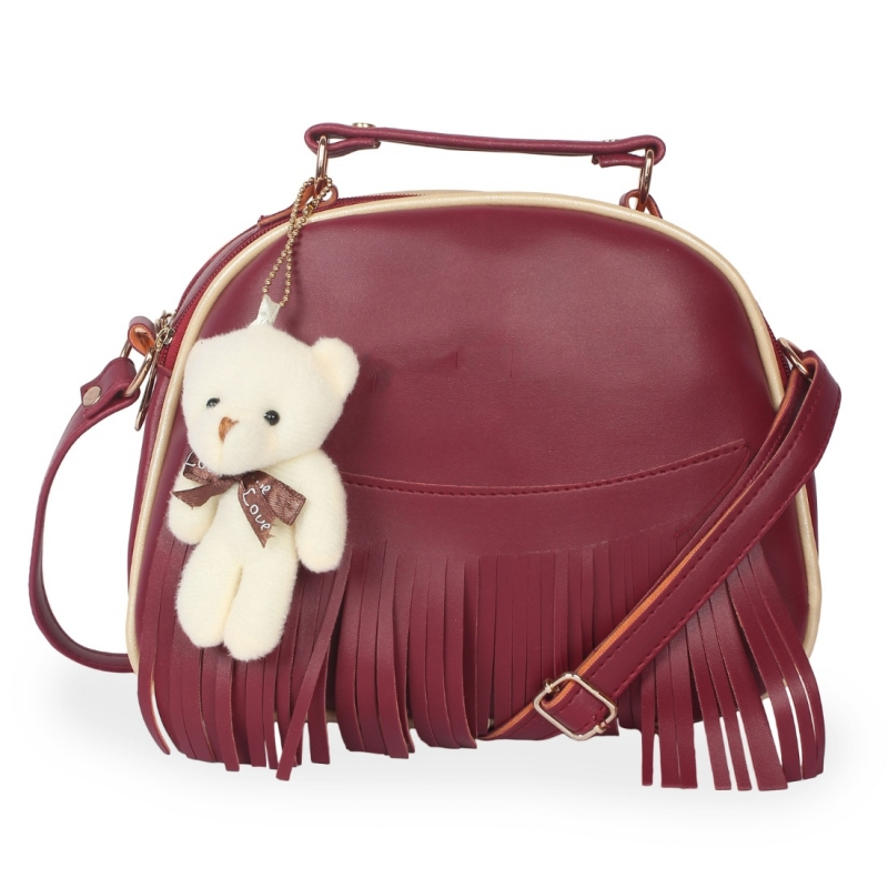 Generic Women's Faux Synthetic Leather Sling Bag (Maroon)