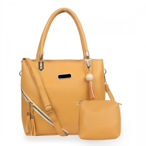 Generic Women's Faux Synthetic Leather Satchel Bag (Yellow)