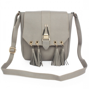 Generic Women's Faux Synthetic Leather Sling Bag (Grey)