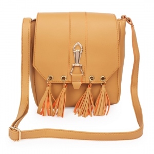 Generic Women's Faux Synthetic Leather Sling Bag (Tan)
