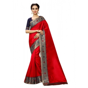 Generic Women's Zoya Silk Saree with Blouse (Red,5-6 mtrs)