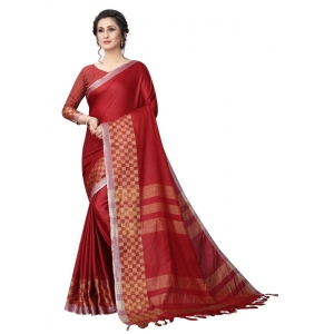 Generic Women's Linen Cotton Blend Saree with Blouse (Maroon,5-6 mtrs)