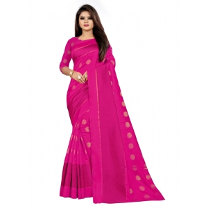 Generic Women's Art Silk Saree with Blouse (Pink,5-6 mtrs)