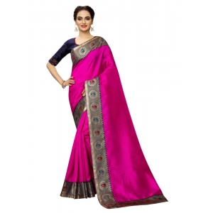 Generic Women's Zoya Silk Saree with Blouse (Pink,5-6 mtrs)