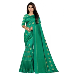 Generic Women's Art Silk Saree with Blouse (Green,5-6 mtrs)