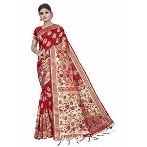 Generic Women's Art Silk Saree with Blouse (Red,5-6 mtrs)