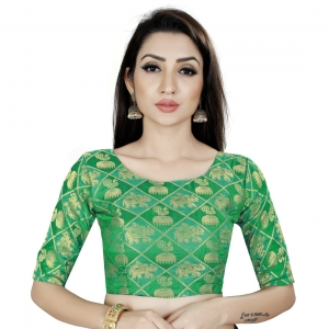 Generic Women's Brocade, Inner-Cotton Full Stitched Padded Blouse (Green)