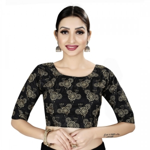 Generic Women's Satin Silk, Inner-Cotton Full Stitched Padded Blouse (Black Gold)
