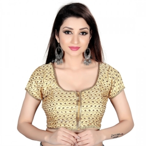 Generic Women's Satin Silk, Inner-Cotton Full Stitched Padded Blouse (Gold)