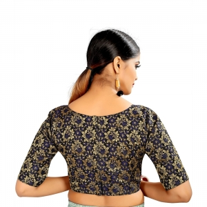 Generic Women's Brocade, Inner-Cotton Full Stitched Padded Blouse (Blue)
