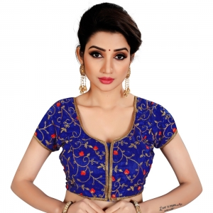 Generic Women's Satin Silk, Inner-Cotton Full Stitched Padded Blouse (Blue)