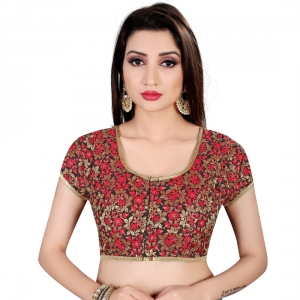 Generic Women's Brocade, Inner-Cotton Full Stitched Padded Blouse (Black Red)