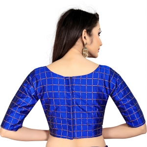 Generic Women's Brocade, Inner-Cotton Full Stitched Padded Blouse (Blue )