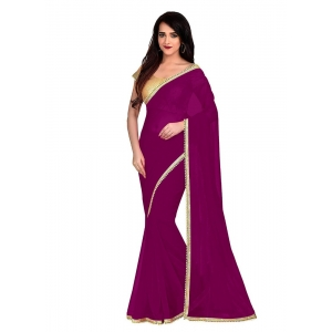 Generic Women's Lace Border Work With Chiffon Saree with Blouse (Dark Pink,5-6 Mtrs)