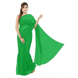 Generic Women's Lace Border Work With Chiffon Saree with Blouse (Green,5-6 Mtrs)