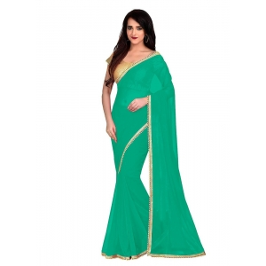 Generic Women's Lace Border Work With Chiffon Saree with Blouse (Sea Green,5-6 Mtrs)