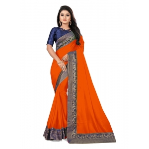 Generic Women's Lace Border Work With Chiffon Saree with Blouse (Orange,5-6 Mtrs)