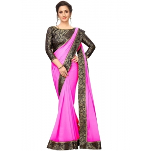 Generic Women's Lace Border Work With Chiffon Saree with Blouse (Pink,5-6 Mtrs)