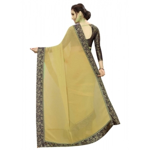 Generic Women's Lace Border Work With Chiffon Saree with Blouse (Beige,5-6 Mtrs)