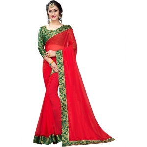 Generic Women's Lace Border Work With Chiffon Saree with Blouse (Red,5-6 Mtrs)