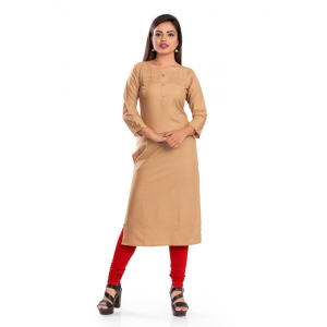 Generic Women's Rayon Self Pattern Straight Kurti-Beige