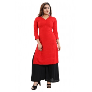 Generic Women's Rayon Embroidered Straight Kurti-Red