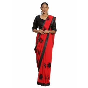 Generic Women's Georgette Saree (Red, 5-6mtrs)