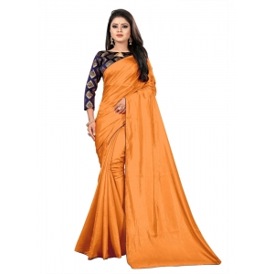 Generic Women's Paper Silk Saree With Jacquard Blouse Piece (Mustard, 5-6mtrs)