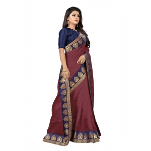 Generic Women's Jacquard Lace Border Paper Silk Saree With Blouse Piece (Maroon, 5-6mtrs)