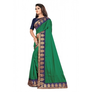 Generic Women's Jacquard Lace Border Paper Silk Saree With Blouse Piece (Green, 5-6mtrs)